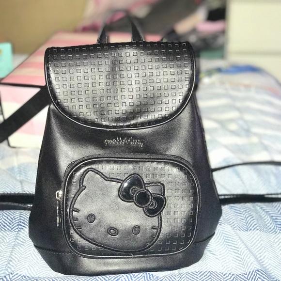 766448ecf Hello Kitty Bags | Small Black Leather Backpack | Poshmark